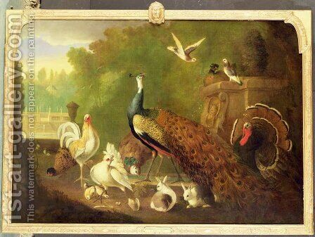 A peacock, turkey and other birds in an ornamental garden by Marmaduke Craddock - Reproduction Oil Painting