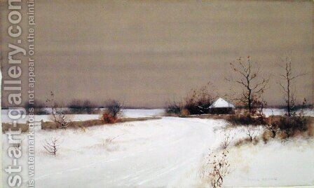 Snow Scene in Country, c.1890 by Bruce Crane - Reproduction Oil Painting