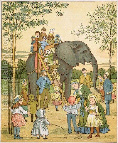 Zoological Garden from London Town by Crane, T. (1808-59) and Houghton, E. - Reproduction Oil Painting