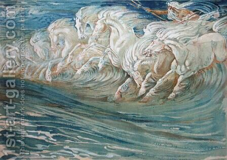Neptune's Horses, illustration for The Greek Mythological Legend  1910 by Walter Crane - Reproduction Oil Painting