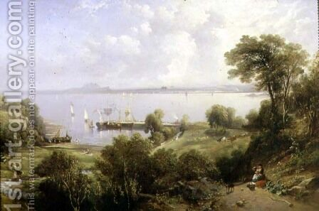 Aberdour Harbour, Edinburgh in the Distance, 1849 by Edmund Thornton Crawford - Reproduction Oil Painting
