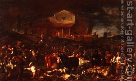 The Fair at Poggio a Caiano 1709 by Giuseppe Maria Crespi - Reproduction Oil Painting