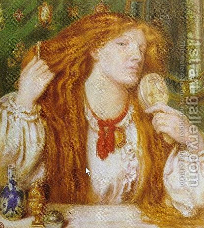 Woman Combing Her Hair 2 by Dante Gabriel Rossetti - Reproduction Oil Painting