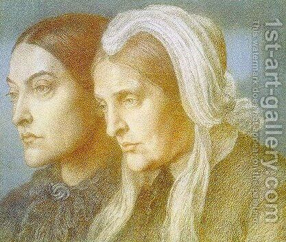 Christina and Frances Rossetti by Dante Gabriel Rossetti - Reproduction Oil Painting