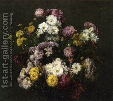 Flowers, Chrysanthemums by Ignace Henri Jean Fantin-Latour - Reproduction Oil Painting