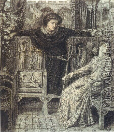 Hamlet and Ophelia by Dante Gabriel Rossetti - Reproduction Oil Painting