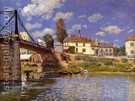 Bridge at Villeneuve-la-Garenne by Alfred Sisley - Reproduction Oil Painting
