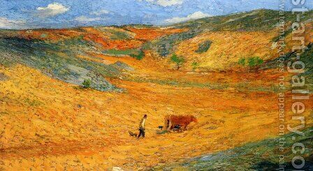 Laboureur au Fond d'une Combe by Henri Martin - Reproduction Oil Painting