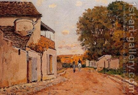 Street in Louveciennes (Rue de la Princesse) by Alfred Sisley - Reproduction Oil Painting