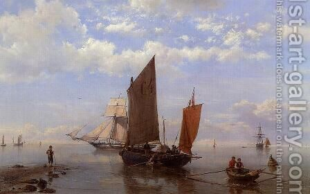 Shipping in a Calm by Hermanus Jr. Koekkoek - Reproduction Oil Painting