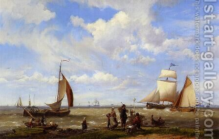 Shipping off the Dutch Coast by Hermanus Jr. Koekkoek - Reproduction Oil Painting
