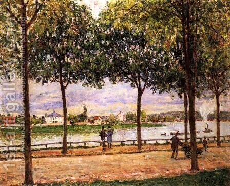 Promenade of Chestnut Trees by Alfred Sisley - Reproduction Oil Painting