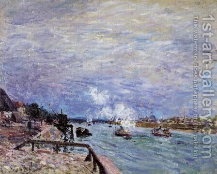 The Seine at Grenelle - Rainy Wether by Alfred Sisley - Reproduction Oil Painting