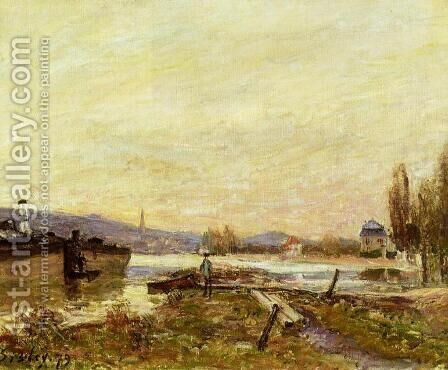 Saint-Cloud, Banks of the Seine by Alfred Sisley - Reproduction Oil Painting