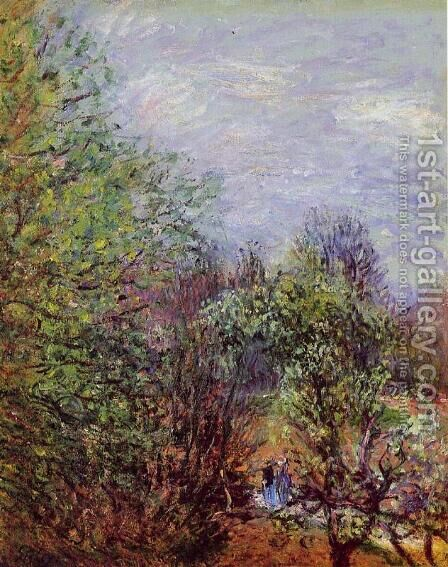 Two Women Walking along the riverbank by Alfred Sisley - Reproduction Oil Painting