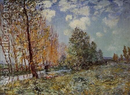 By the River by Alfred Sisley - Reproduction Oil Painting
