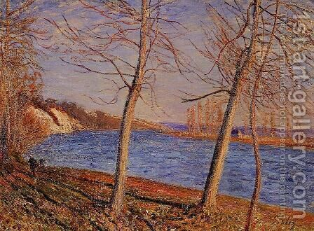 Riverbank at Veneux by Alfred Sisley - Reproduction Oil Painting