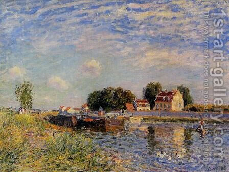 Saint-Mammes, Ducks on Canal by Alfred Sisley - Reproduction Oil Painting