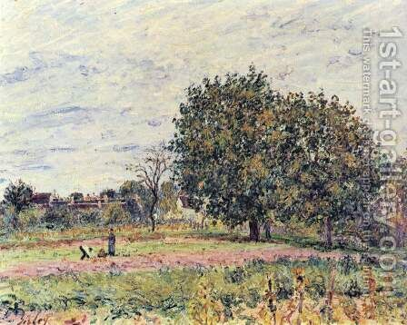 Walnut Trees, Sunset - Early Days of October by Alfred Sisley - Reproduction Oil Painting