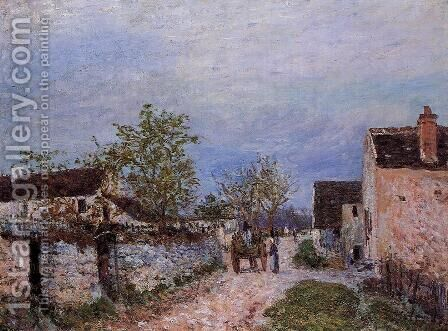 Street in Veneux by Alfred Sisley - Reproduction Oil Painting