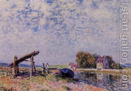 The Loing Canal at Saint-Mammes by Alfred Sisley - Reproduction Oil Painting