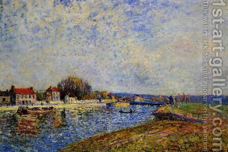 The Dam, Loing Canal at Saint-Mammes by Alfred Sisley - Reproduction Oil Painting