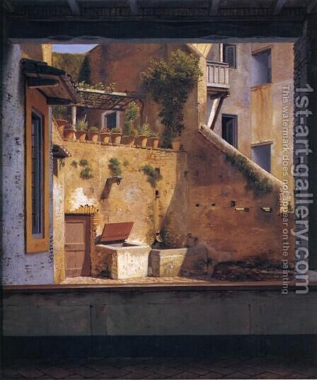 A Courtyard in Rome by Christoffer Wilhelm Eckersberg - Reproduction Oil Painting
