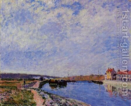 The Barge Port and Saint-Mammes by Alfred Sisley - Reproduction Oil Painting