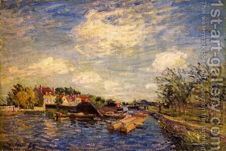 By the Loing by Alfred Sisley - Reproduction Oil Painting