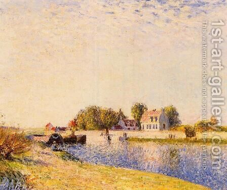 The Dam on the Loing - Barges by Alfred Sisley - Reproduction Oil Painting