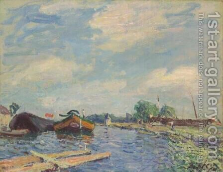 The Canal at Saint-Mammes by Alfred Sisley - Reproduction Oil Painting