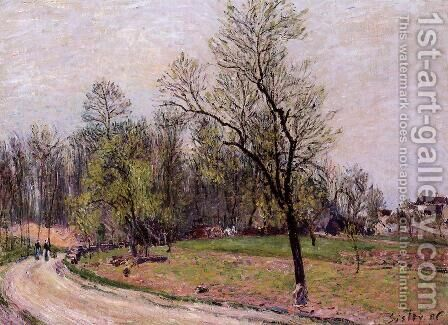 Edge of the Forest in Spring, Evening by Alfred Sisley - Reproduction Oil Painting