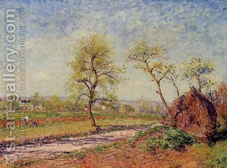 Road from Veneux to Moret on a Spring Day by Alfred Sisley - Reproduction Oil Painting