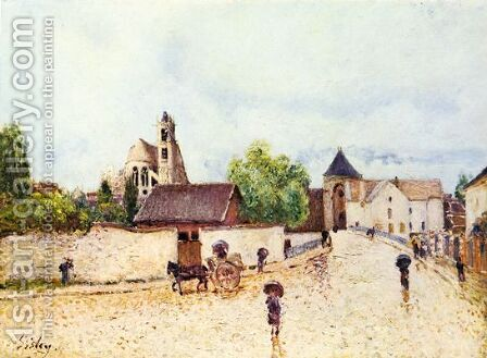 Moret-sur-Loing, Rain by Alfred Sisley - Reproduction Oil Painting