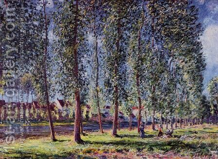 Lane of Poplars at Moret by Alfred Sisley - Reproduction Oil Painting