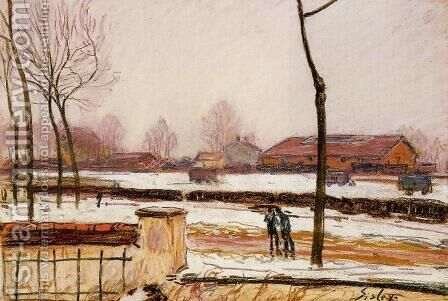 Winter Landscape, Moret by Alfred Sisley - Reproduction Oil Painting