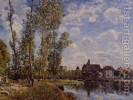 Moret, View from the Loing, May Afternoon by Alfred Sisley - Reproduction Oil Painting