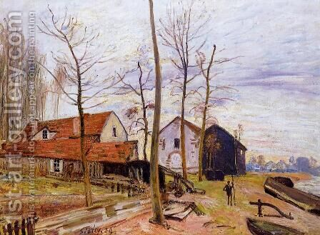 The Mills of Moret, Sunrise by Alfred Sisley - Reproduction Oil Painting