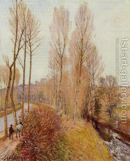 Path along the Loing Canal by Alfred Sisley - Reproduction Oil Painting