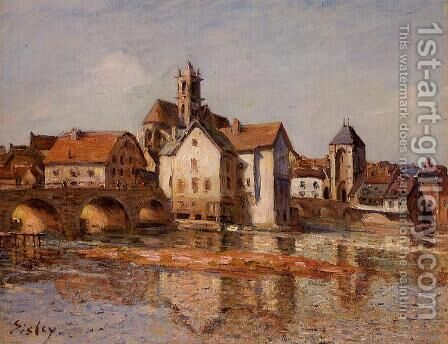 The Moret Bridge by Alfred Sisley - Reproduction Oil Painting
