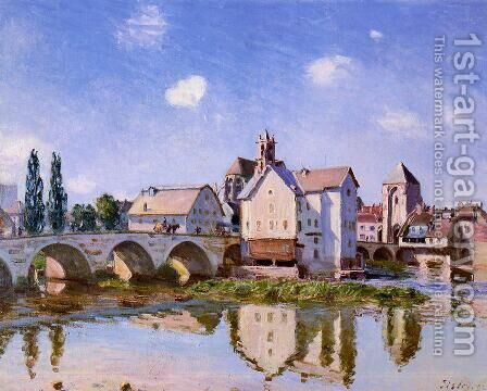The Moret Bridge in the Sunlight by Alfred Sisley - Reproduction Oil Painting