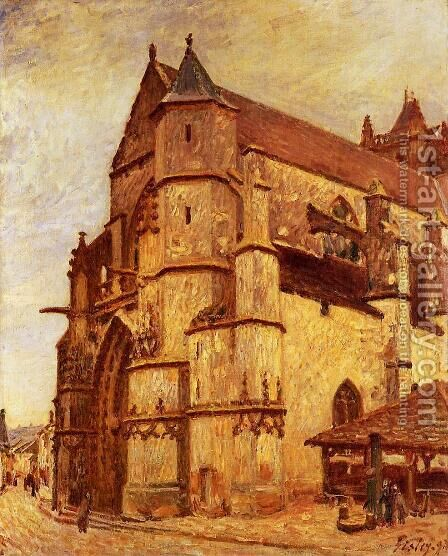 The Church at Moret, Rainy Morning by Alfred Sisley - Reproduction Oil Painting