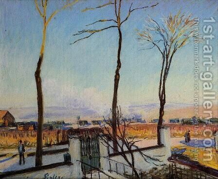 Snow Effect at Moret by Alfred Sisley - Reproduction Oil Painting