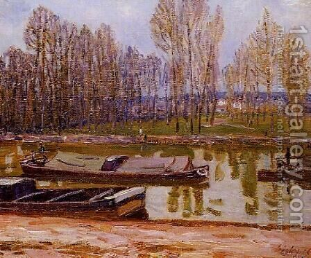 Barges on the Loing Canal, Spring by Alfred Sisley - Reproduction Oil Painting
