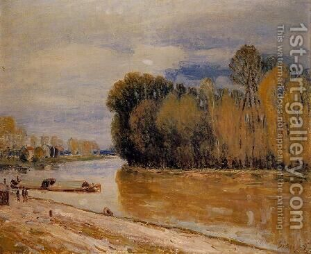 The Loing Canal II by Alfred Sisley - Reproduction Oil Painting