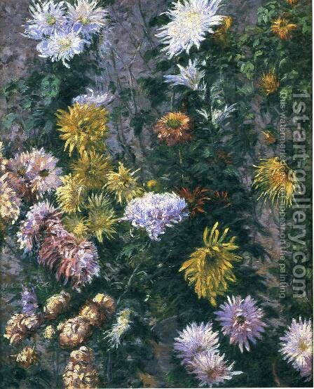 White and Yellow Chrysanthemums, Garden at Petit Gennevilliers by Gustave Caillebotte - Reproduction Oil Painting