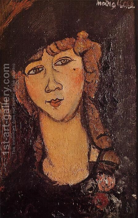 Head of a Woman in a Hat by Amedeo Modigliani - Reproduction Oil Painting