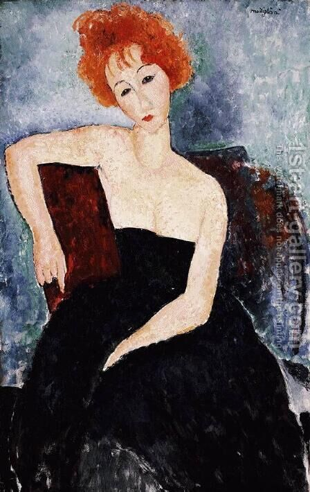 Young Redhead in an Evening Dress by Amedeo Modigliani - Reproduction Oil Painting