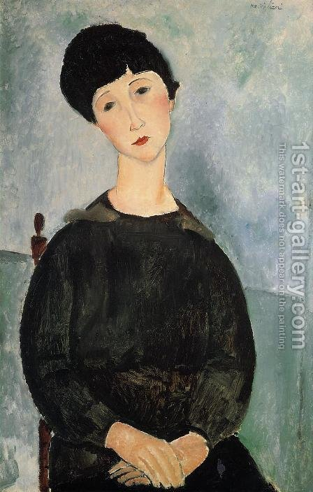 Seated Young Woman by Amedeo Modigliani - Reproduction Oil Painting