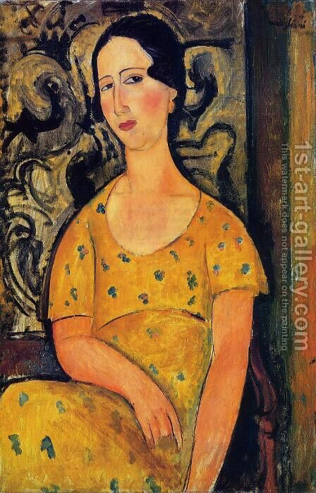 Young Woman in a Yellow Dress by Amedeo Modigliani - Reproduction Oil Painting
